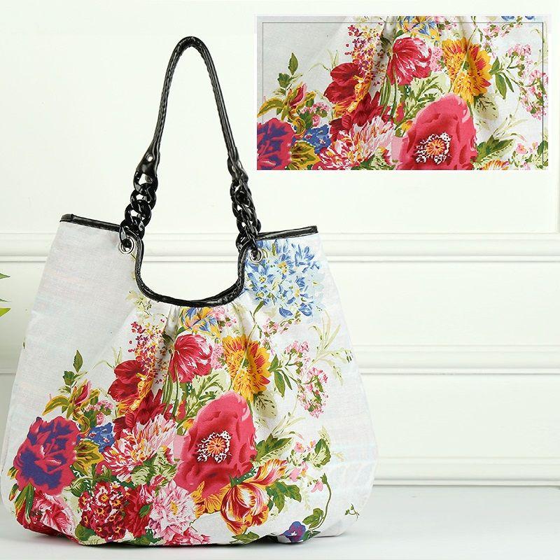 2a5168badb1 New fashion trend women's handbags casual cotton shoulder shopping bag  printed bag large capacity tote bag