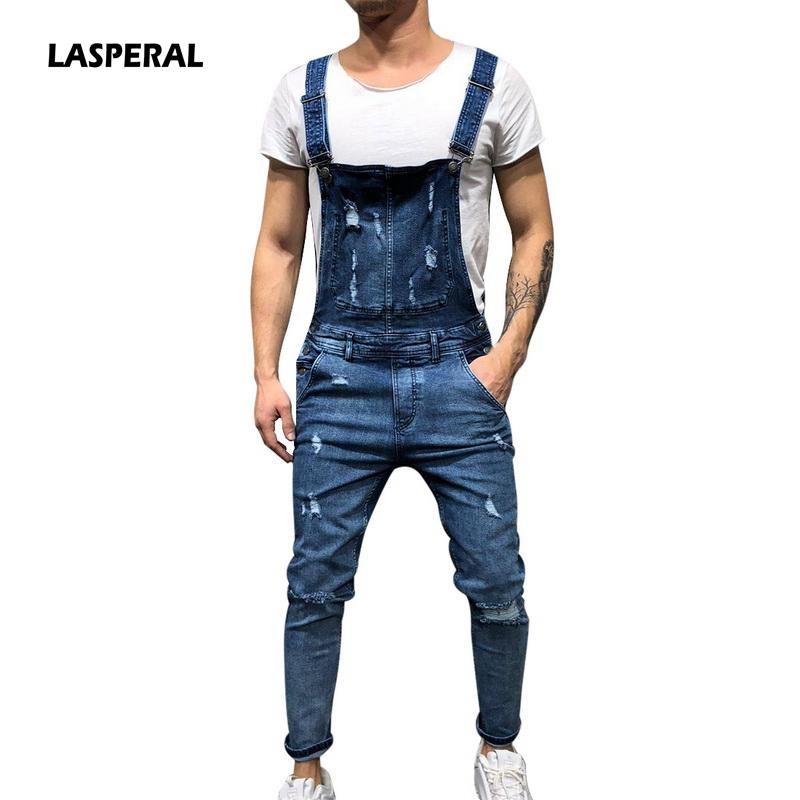 Compre LASPERAL 2018 Moda Hombre Ripped Jeans Jumpsuits Hola Calle Agujeros  Apenados Denim Bib Overol Hombre Suspender Pantalones Tamaño M XXL A  36.54  Del ... 87b46fc7925