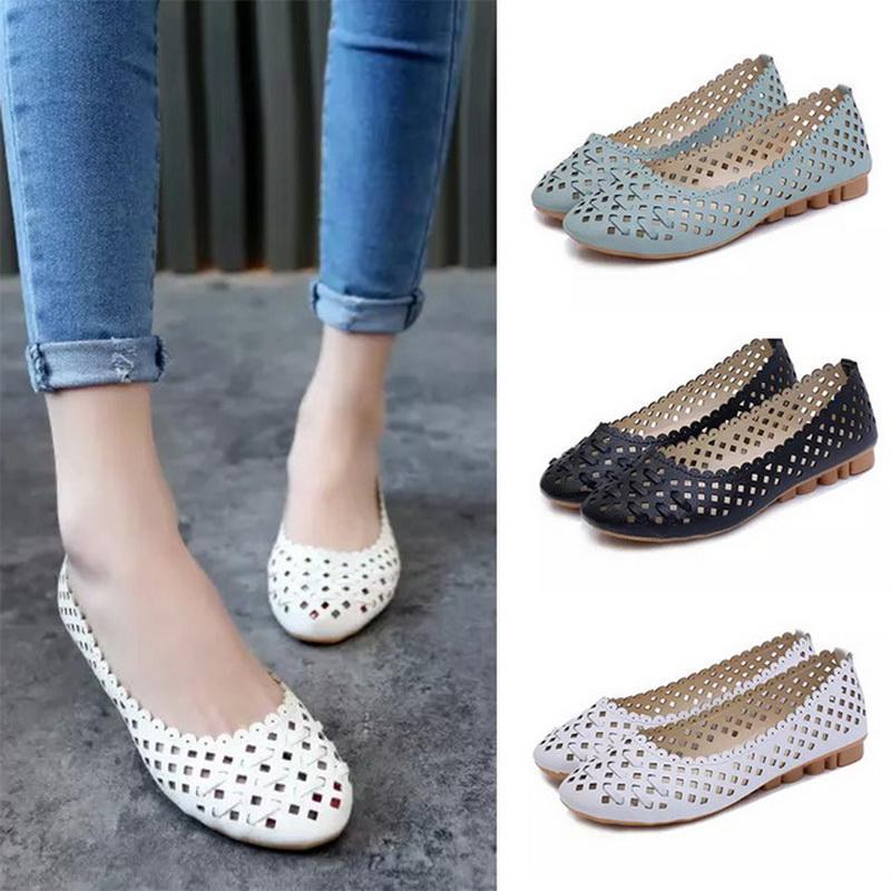 Sommer Frauen Schuhe Slip on Flache Schuhe Cut out Sandalen Komfortable Frau Wohnungen schwarze Müßiggänger Damen zapatos mujer