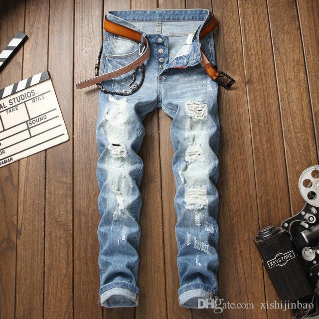 8cd0a6a96 Nuevos 2019 Jeans para hombres Moda Casual Europeo y Americano Pantalones  largos para hombres de primavera y otoño D1002
