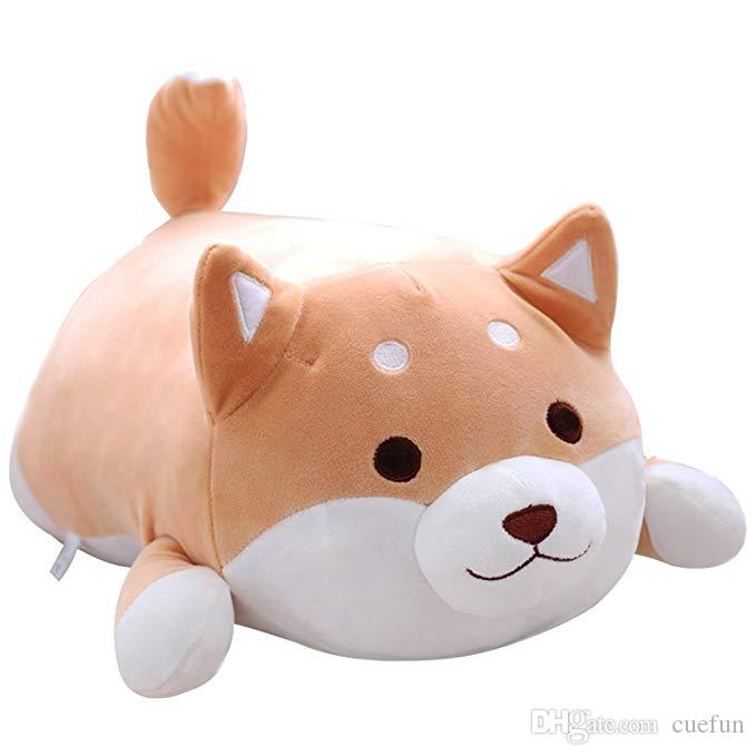 Shiba Inu Dog Plush Pillow Cute Corgi Akita Stuffed Animals Doll Toy for Valentine's Gift Christmas,Sofa Chair Brown Round Eye 22.8''