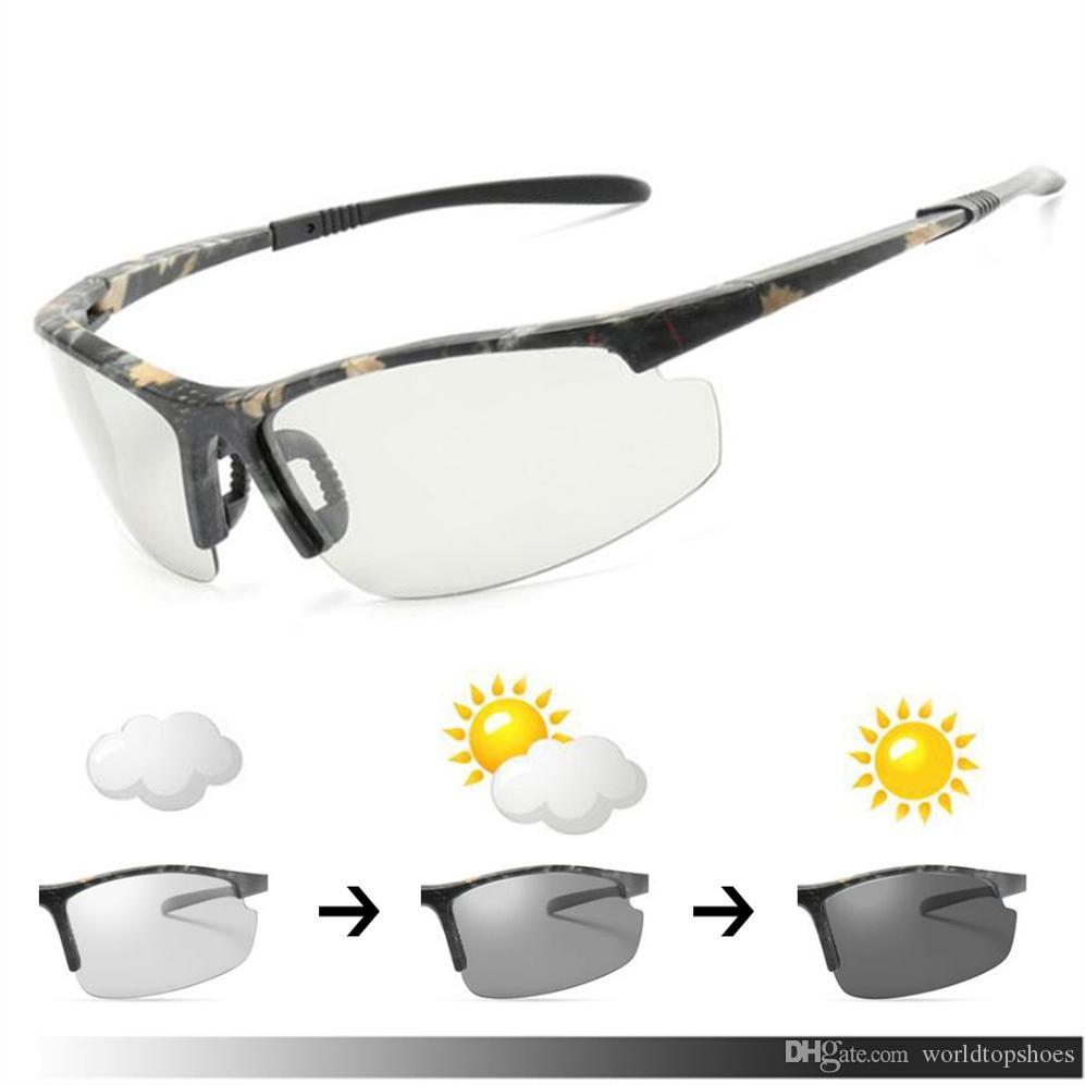 f26e2efed02 2018 Cycling Men s Photochromic Polarized Sunglasses Anti-UV Camo ...
