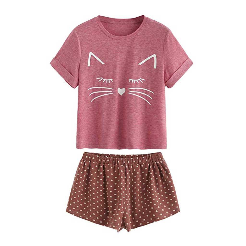 7cb2e0353f Großhandel ISHOWTIENDA Frauen Sexy Pyjama Set Katze Druck Sommer Weibliche  Nachtwäsche Kurzarm Bodydoll Pyjamas Camis Und Shorts Von Cansou, $32.47  Auf De.