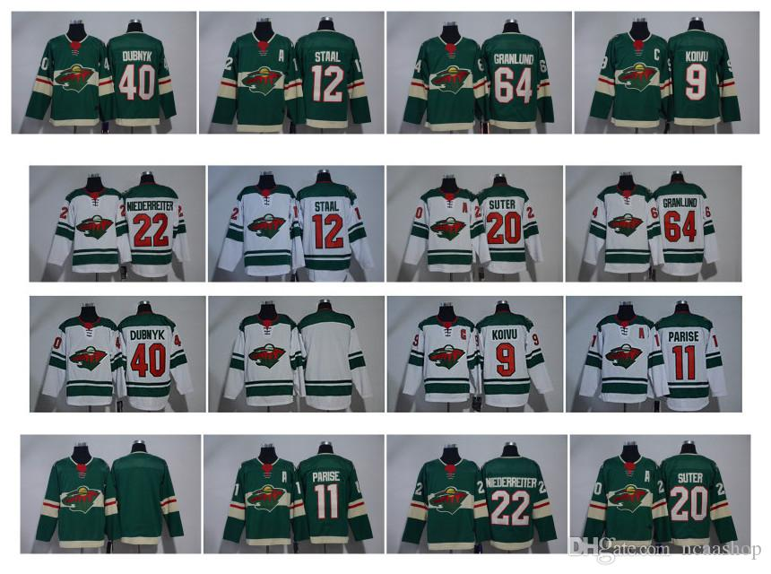 low priced 19d44 b589b NHL Minnesota Wild Jersey Zach Parise 40 Dubnyk 9 Koivu 20 Ryan Suter 64  Mikael Granlund 12 Eric Staal 16 Zucker 3 Coyle Green White Hockey