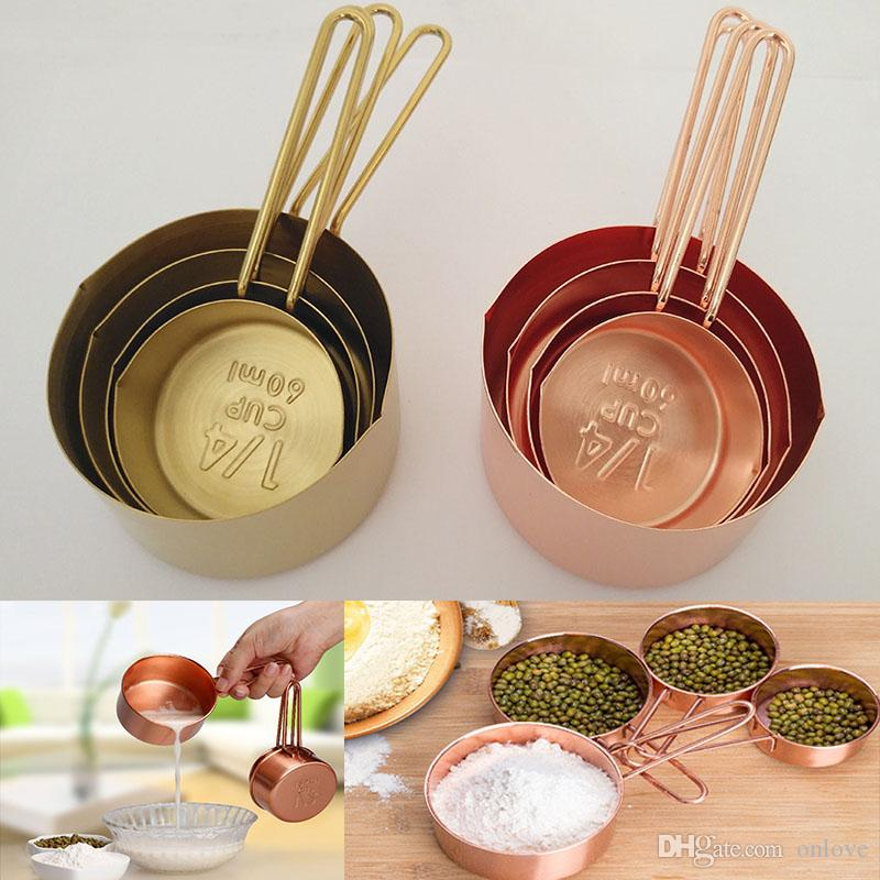 2017 New Copper Stainless Steel Measuring Cups 4 Pieces Set Kitchen Tools Making Cakes and Baking Gauges Measuring Tools XD20622