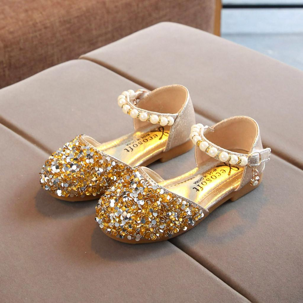 Enfants Enfants Chaussures Filles Sandales Mode Casual Perle bling Paillettes Chaussures Simple solides Single Dance HookLoop Princesse Chaussures