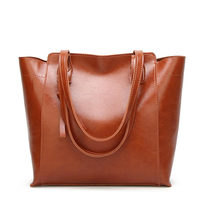 Women Shoulder Bag Fashion Simple Tassel Design Handbags Oil Wax Leather  Large Capacity Tote Bag Casual Pu Leather Ladies Briefcase Leather Backpack  From ... 9a32f498224b2