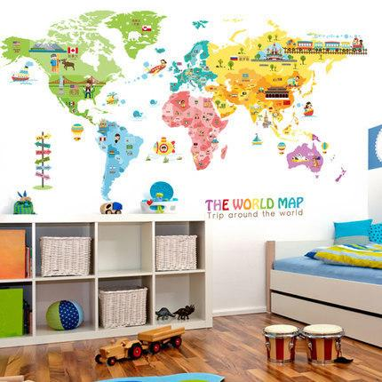 Cartoon Animal Map Home Decoration Vinyl Wall Stickers Diy 95*195cm ...