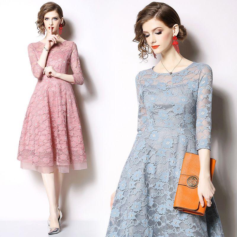 2d6a1b892 Compre Moda De Nova Mulheres Vestido De Renda Primavera Verão Rodada Collar  Vestidos De Renda Nobre Elegante Oco Midi Vestidos De Baile Vestidos De  Noite De ...