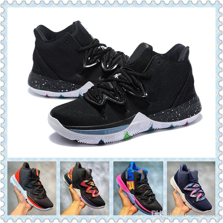huge discount d0fe0 8cc97 2019 Kyrie 5 Black Magic Multi Color Men Casual Shoes Navy Mesh ZOOM Mens  Trainers Popular Sneakers Zapatillas Trainer With Box Basketball Shoes Mens  Shoes ...
