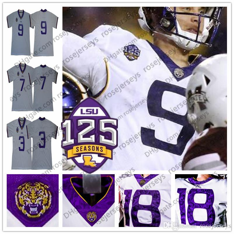 new arrival cad2f 4a40c NCAA LSU Tigers 1918 Silent Season 2018 125th Vintage White Jersey #3  Beckham 7 Fournette Peterson Mathieu 9 Burrow Retro Mens Uniforms
