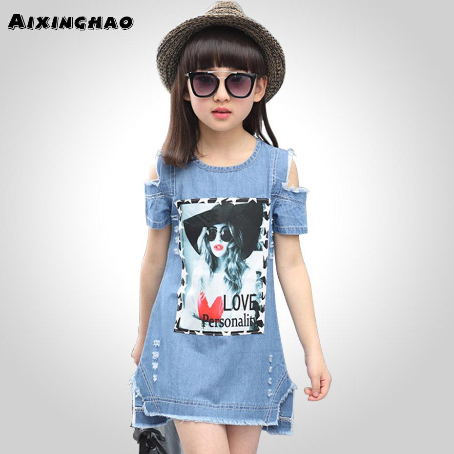 2e9791abf Aixinghao Vestidos de los niños para niñas Casual Denim Vestido sin  tirantes Girls Summer Teenage Cartoon Pattern Girls Denim Ropa 8 10 Q190522