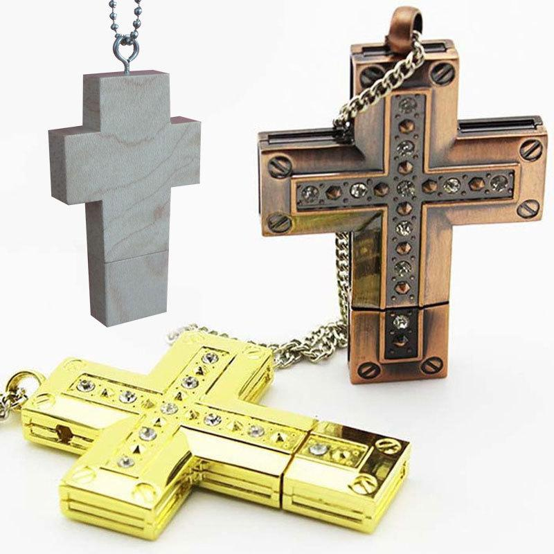 Crystal Cross U-disk necklace chain High Quality 16g 64G USB Flash Memory Stick Thumb Pen Drive U Disk 2.0 Cartoon usb memory cards