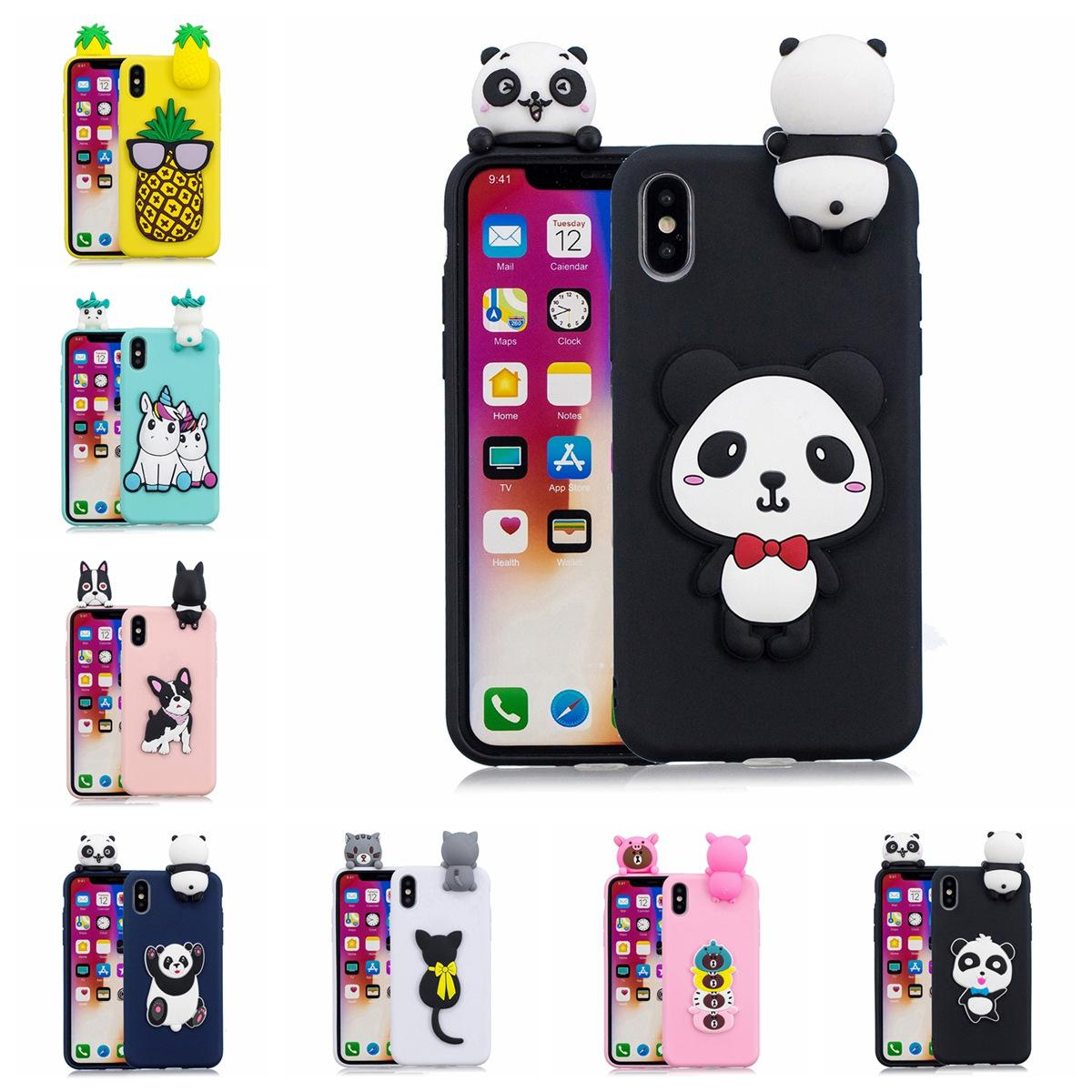 TPU Phone Case Cover for iPhone X Pasted 3D Funny Animal Panda Sticking a  Little Doll 61 Models Option