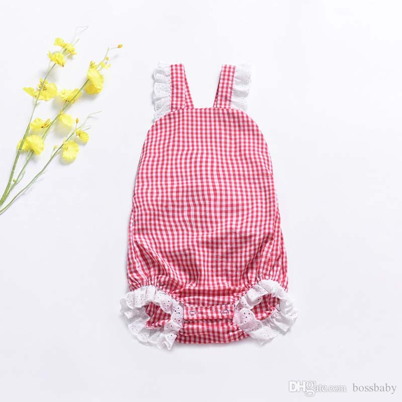 Baby Jumpsuits Baby Checked Jumpsuit Children Backless Rompers Girl Crawling Clothes 95% Cotton Sleeveless Lace Square Neck 58