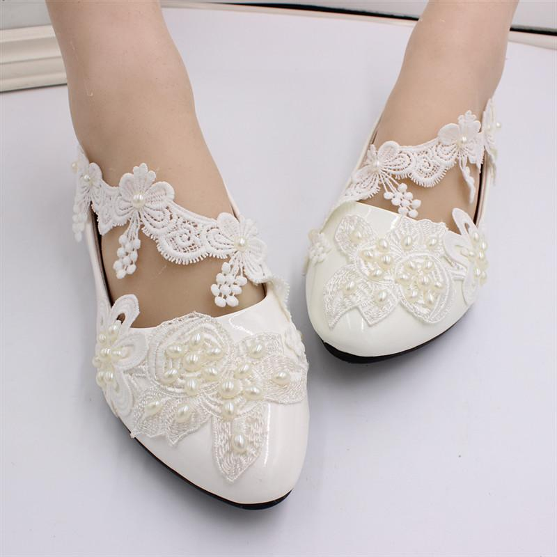 New Sweet Wedding Bride Party Dress Shoes Sandali Piatti / 3cm / 5cm / 8cm Womens Handmade Damigella d'onore Elegante White Pearl Lace Pumps Scarpe da ballo
