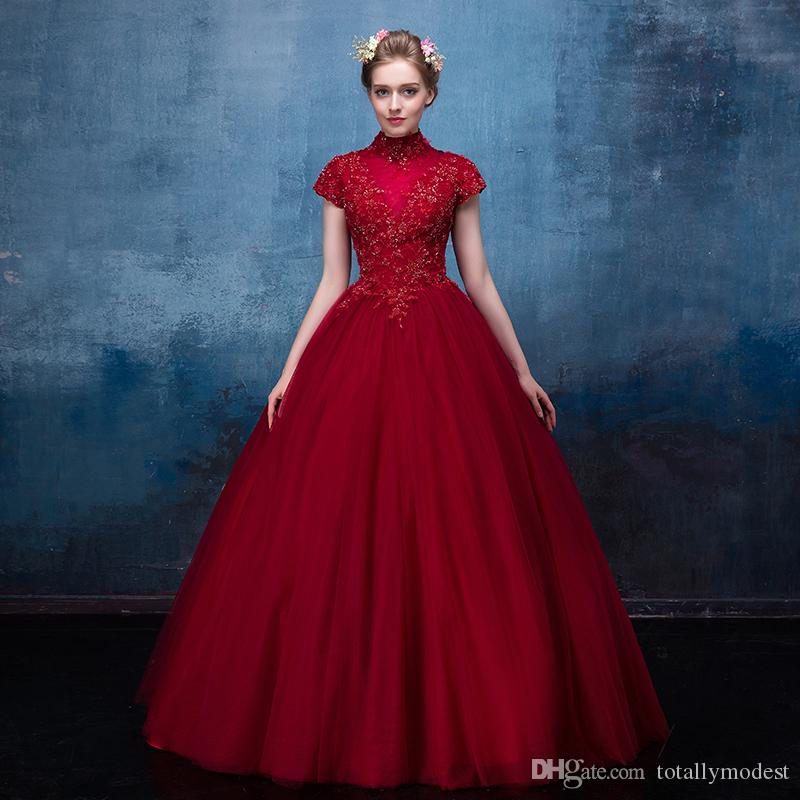 2019 Dark Red Gothic Wedding Dresses With Cap Sleeves High Neck A-line Floor Length Beaded lace Tulle Corset Back Non White Bridal Gowns