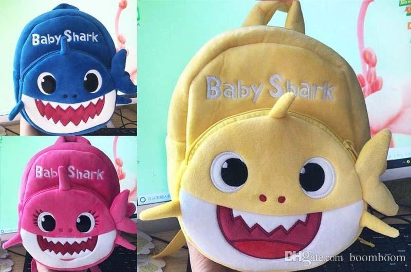 10 unids 2019 Nueva Cartoon Baby Shark School Bag para Niños Niños Mochila Escolar de Peluche Lindo Shark Baby Blue Rose Color Amarillo Niños Mochila