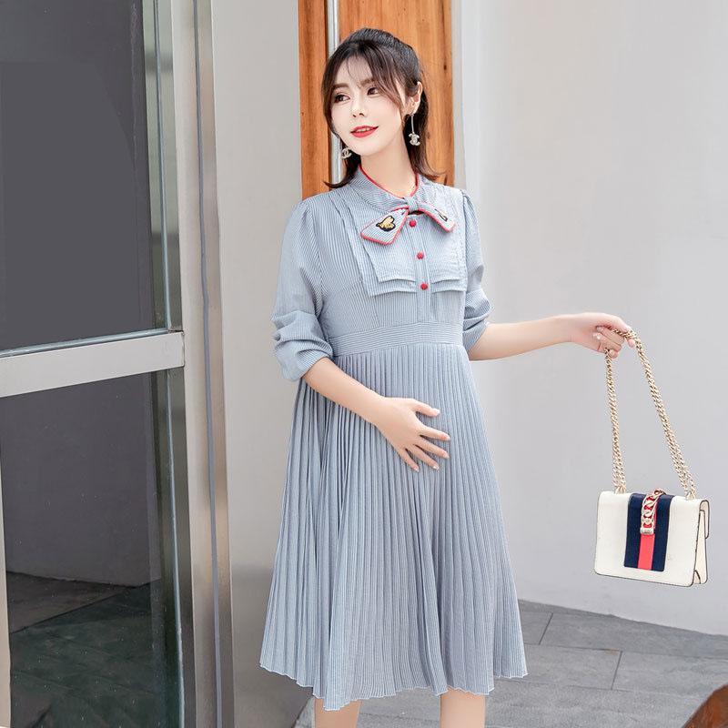40ca2e054d2 2019 Spring Autumn Maternity Dress For Pregnant Women Clothing Fashion  Skirt Pregnancy Clothes With Flouncing Pleated Skirt From Jasmineer