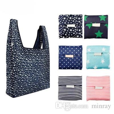 2019 Hot Sale Fashion printing foldable shopping bag Reusable Large-capacity Storage Bag Eco Friendly Tote Bags Multi-function UPS Free