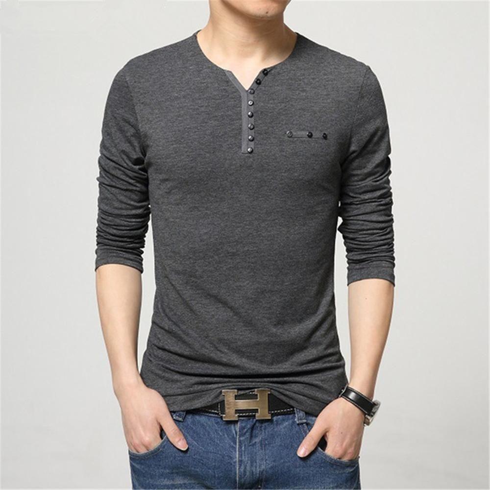 1976a699 Fashion Mens Slim Fit Long Sleeve T-Shirts Stylish Luxury Men V Neck Cotton  T Shirt Tops Tee XZ-025