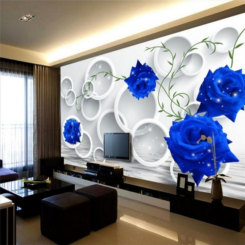 Wall Sticker Custom Foto Wallpaper parati Circle Blue Rose Semplice TV sfondo parete di carta murale Papel de Parede