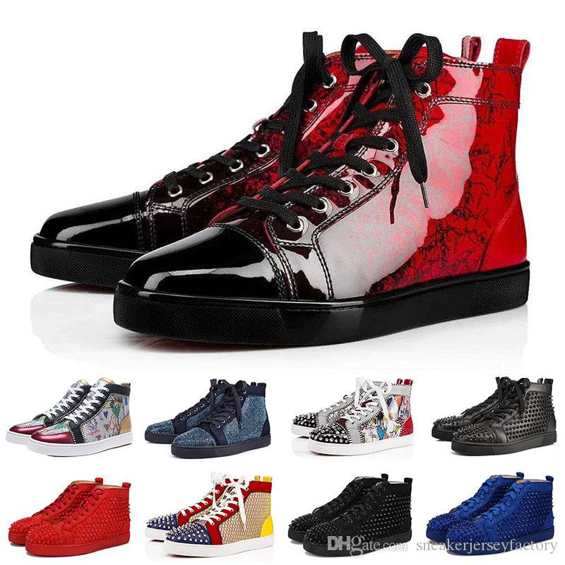 photos officielles b2fa0 fdf04 Christian Louboutin Red Bottoms 2019 Fashion designer scarpe sneakers  borchie con borchie piatte per uomo donna glitter party lovers in vera  pelle ...