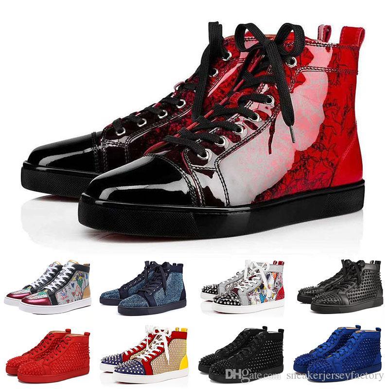465be7fbab6 Christian Louboutin Red Bottoms Bottop Studded Spikes Flats zapatos para  hombres mujeres brillo amantes de la fiesta de cuero genuino zapatillas de  ...