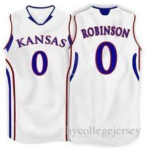 Cheap #0 Thomas Robinson Kansas Basketball jersey Blue Retro vest T-shirt Jersey Customize any size number and name #3 Russell Robinson