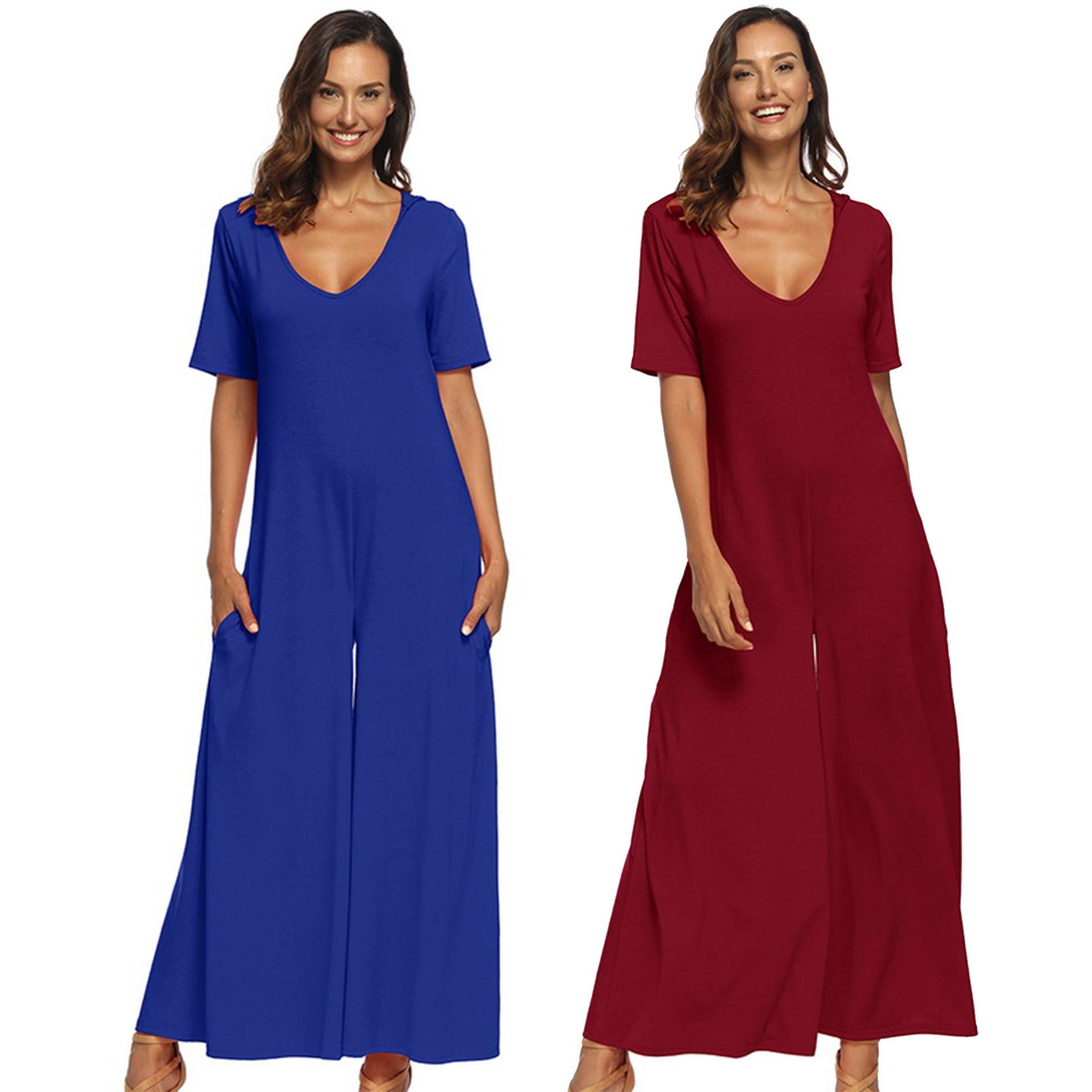 2145ef7435c7 A9006 Romper Women Jumpsuit Summer 2019 Graceful Ladies Office Wear Half  Sleeve Wide Leg Playsuit Tracksuit Long Pants Online with  21.8 Piece on  Dujotree s ...