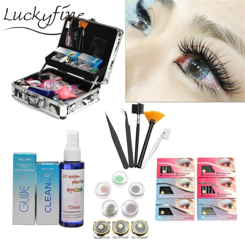 Professional False Eye Lash Eyelash Extension Cosmetic Makeup Full Kit  Tools Glue Set With Case Salon Tool Gift