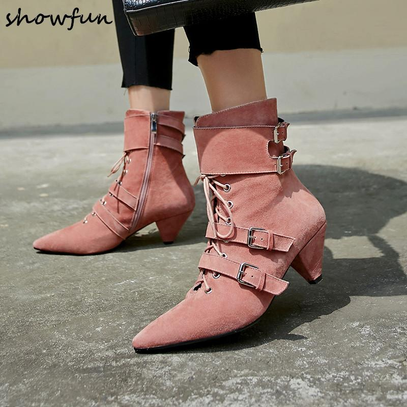 40473d987b3 Plus Size Women S Genuine Suede Leather Ankle Boots Kitten Heel Pointed Toe  Lace Up Short Booties Metal Buckle Punk Shoe Black Ankle Boots Wedge Shoes  From ...