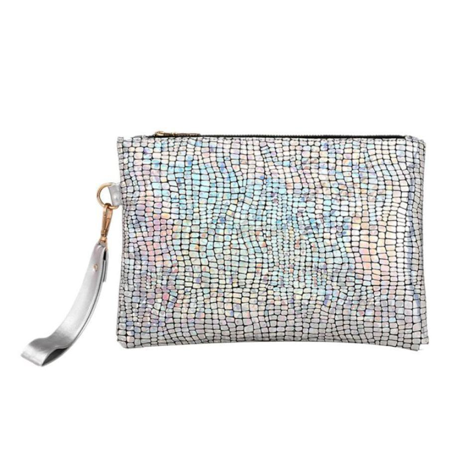 Cheap Women Beautiful Handbag Female Handbags Colorful Sequins Bags Ladies Zipper Luxury Handbags Sparkles &410