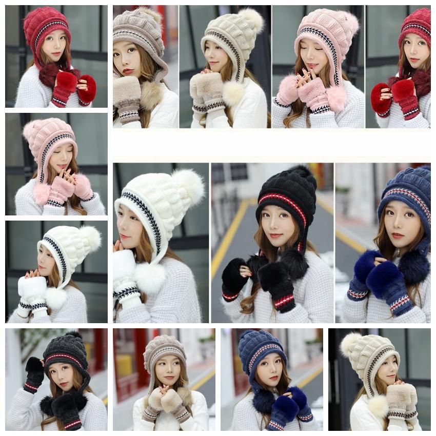 Winter Knitted Hat Gloves Sets Rabbit Fur Knit Pom Pom Hat Women Beanies Cap  Thicken Fingerless Mitten Outdoor Hats GGA1436 Knitted Hat Glove Set Rabbit  Fur ... 3353d3645314