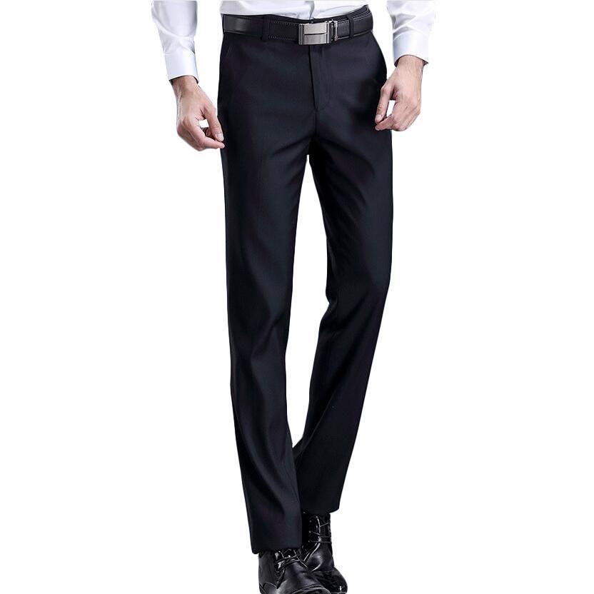 6f62369e1168c3 2019 Men's slim Fit leisure Suit Pants High Quality Men Dress Pants Silk  Trousers Straight Business Mens Formal 28-42