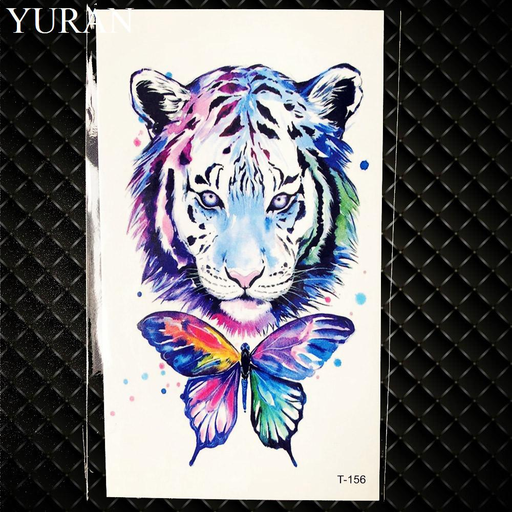 Water Color Galaxy Tiger Butterfly Blub Waterproof Tattoo Men Whale Temporary Tattoo Stickers Women Makeup Fake Flash Tatoos
