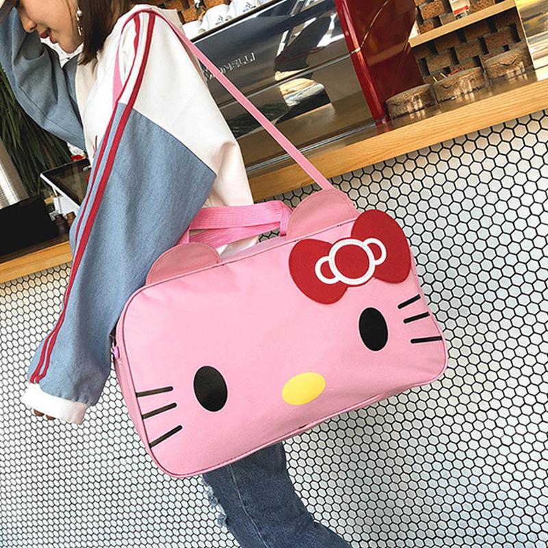 eb2d474271 Fashion Ladies Luggage Travel Bag Hello Kitty Weekend Shoulder Bag Portable  Large Capacity Waterproof Women Handbag Duffel Gym Bags For Women Messenger  Bags ...