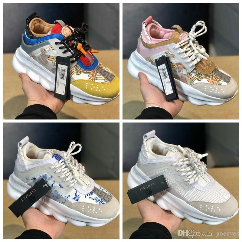 c0139f75a6 2019 New Versace men shoes Chain Reaction Tribute Sneakers Italia luxury  brand donna uomo Medusa Scarpe da corsa Designer Flats Medusa Chaussures  5-11