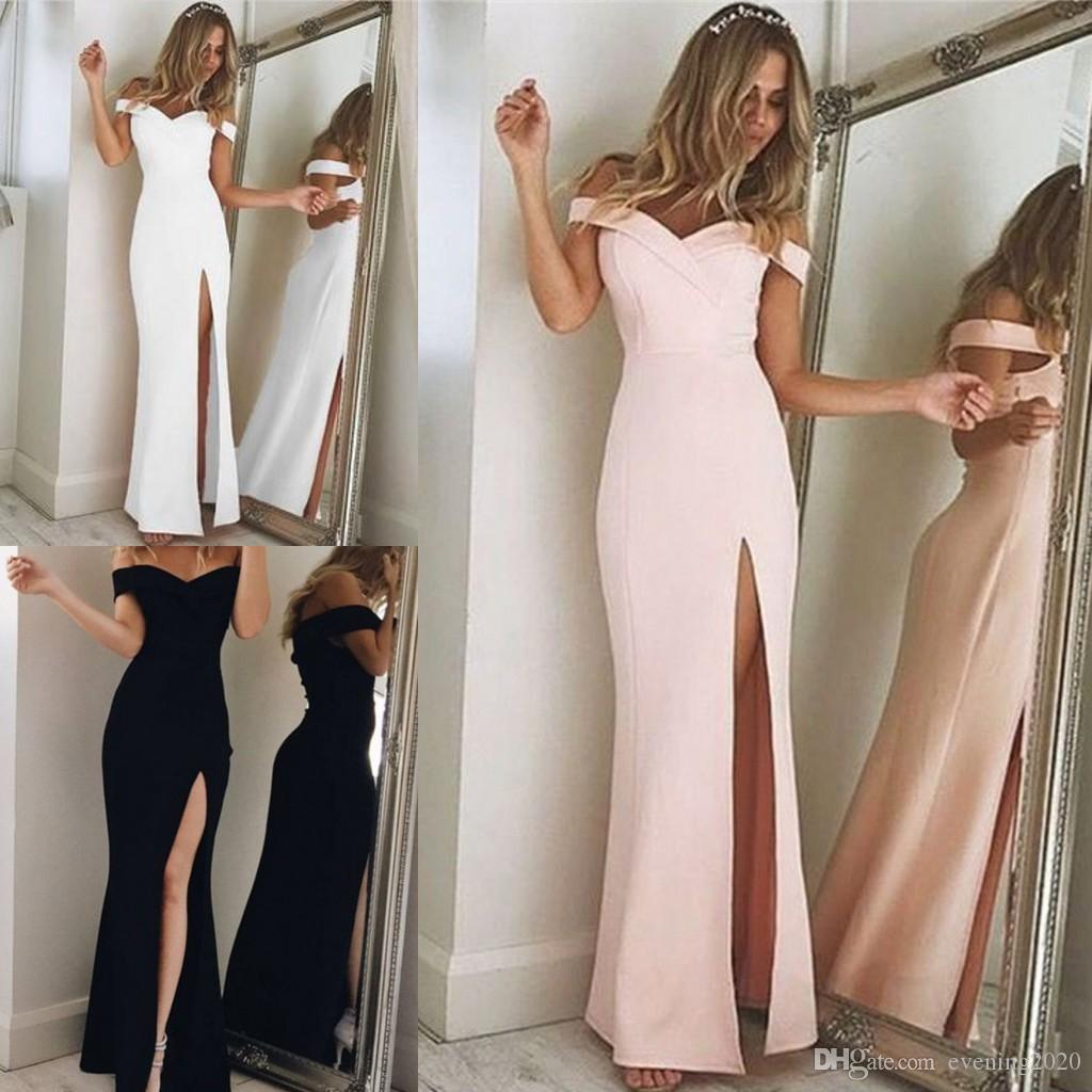 257d09a50c 2019 New Fashion Split Special Occasion Dresses Long Evening Dresses Satin V  Neck Mermaid Prom Dresses Off The Shoulder Front Split Best Evening Dresses  ...