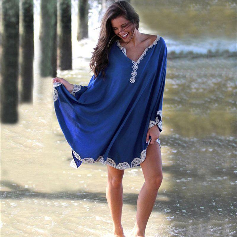 cheap for discount b88c0 e7cfb NODELAY 2019 Sommer Strand Tunika Kleid Frauen Baumwolle Bikini vertuschen  Plus Size Pareo Beachwear Dolman Sleeve Bademode vertuschen