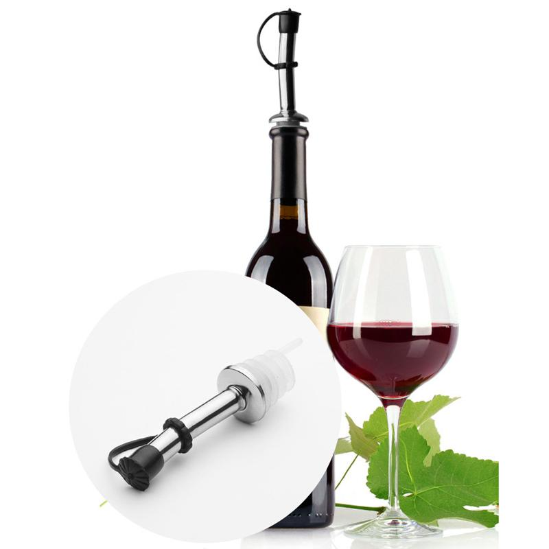 Stainless Steel Liquor Spirit Pourer Anti-dust Rubber Lids Flow Wine Bottle Pour Spout Stopper Barware Christmas Party Supply DBC DH0856