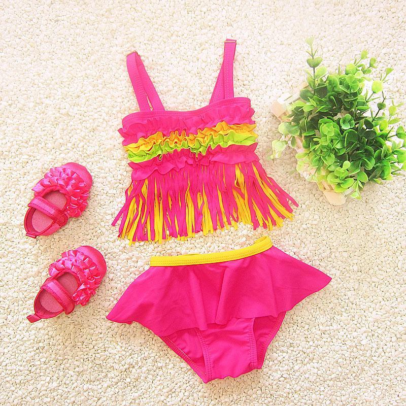 f6e0b054196d 2019 Tassel Children Swimwear Falbala Girls Swimwear Baby Kids Biquini  Infantil Swimsuit Bikini Girl 2018 New Summer Bathing Suit From Fashion09