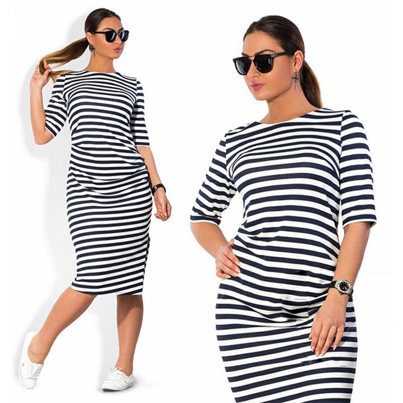 8931fd2c25a 5xl 6xl Plus Brand 2019 Women's Clothing Neck Zebra Striped Europe Hot Style  Large Big Size Casual Dress Vestidos C19041901