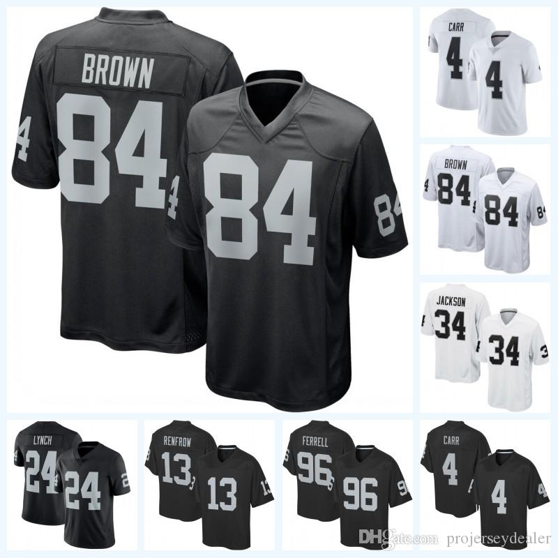 75a69f40 Oakland 84 Antonio Brown 4 Derek Carr 13 Hunter Renfrow Raiders 28 Doug  Martin 34 Chris Warren 33 DeAndre Washington Football Jersey