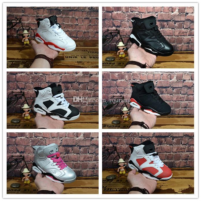 newest 9e2f7 4cdf5 Acheter Nike Air Jordan Aj6 En Gros Nouveau Discount Enfants 6 Bébé  Chaussures De Basket Ball Unc Or Noir Rouge Enfant 6s Garçons Sneakers  Enfants Sports ...