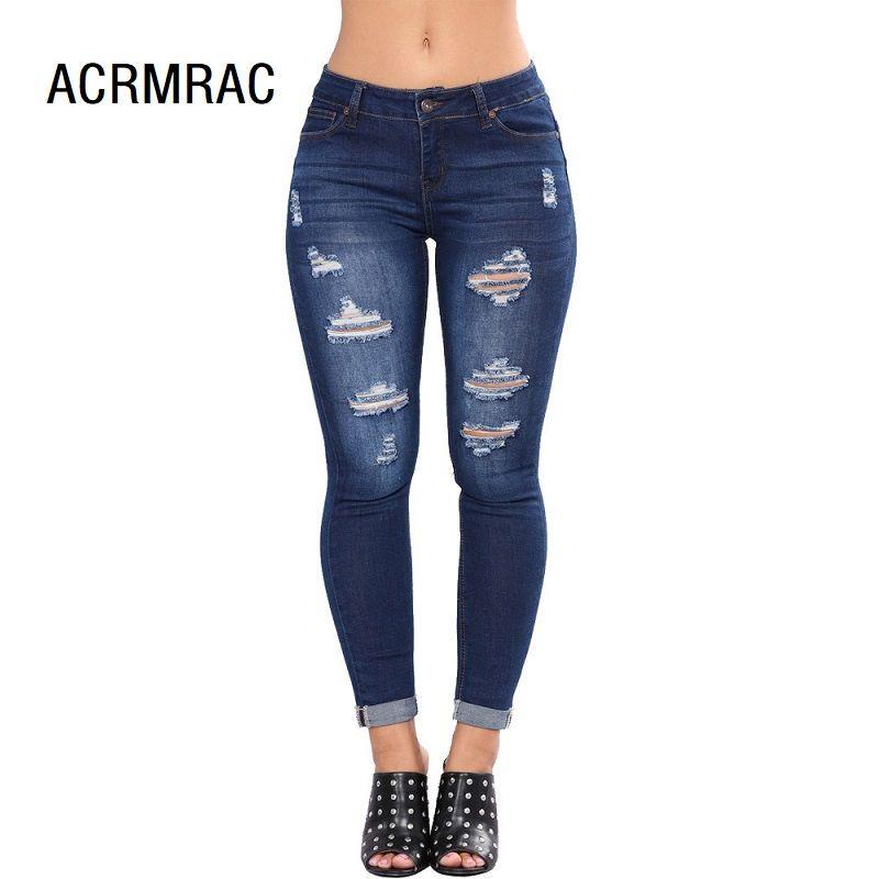 e39a401432af Mujer denim azul Slim Hole Media cintura verano Lápiz pantalones Skinny  jeans Mujer