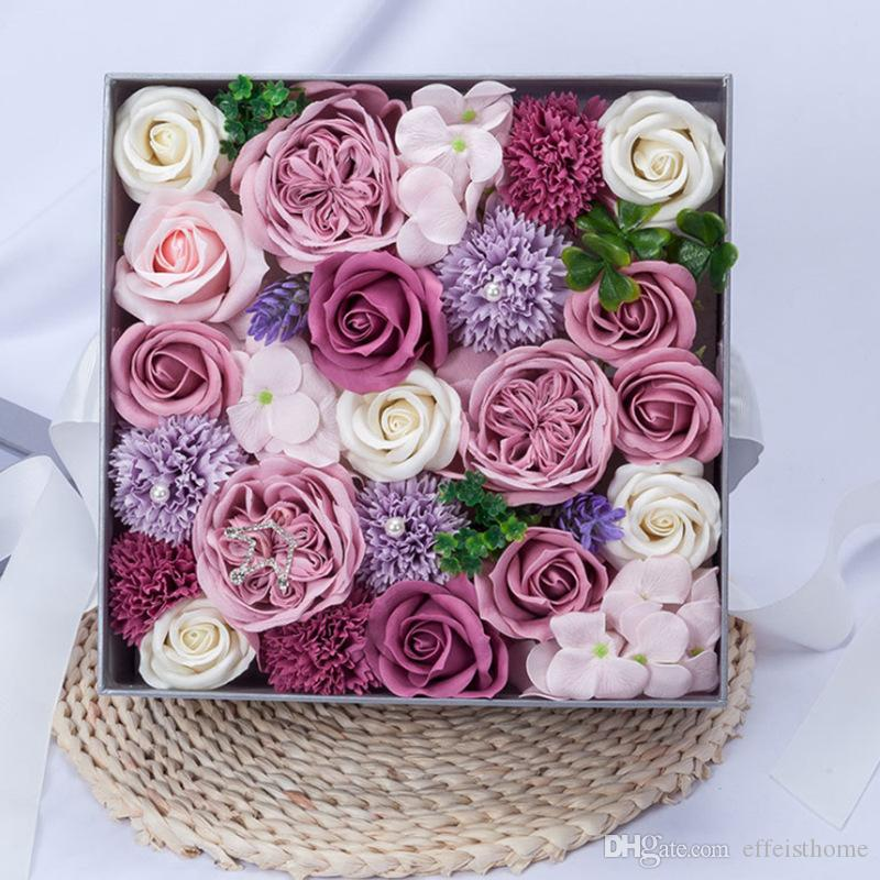 Gift Box Packed Romantic Handmade Rose Soap Petal Simulation Flower Paper Flower Valentines Day Birthday gift