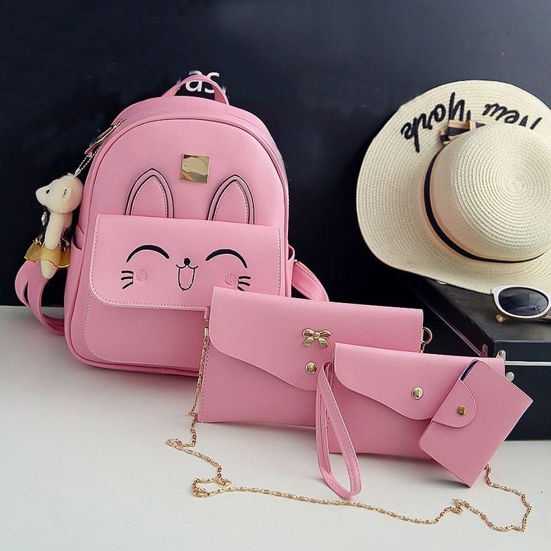 2019 Girls Cute Cat Printing Backpack Pink Grey PU Leather Mini White  College Student School Bag For Teen Kid Daypack Sets Backpack Brands  Rucksack Backpack ... 46bb4460cec70