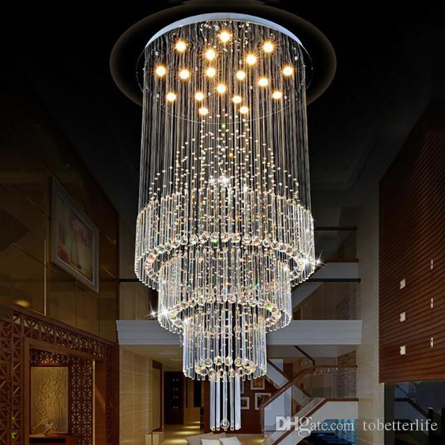 Modern Crystal Pendant Light Raindrop Ceiling Chandeliers Light Crystal Hanging Lamp Living Room Dining Room Stairs AC110-240V with Bulbs