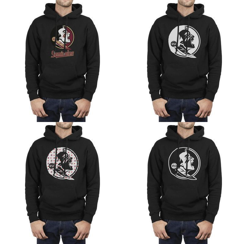 Florida State Seminoles blanc de football logo noir Mens Sweat à capuche en molleton Pocket Heart Coconut arbre gris Golden Léopard Imprimer